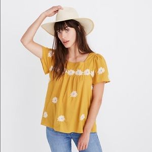 Madewell Floral Embroidered Butterfly Top XS